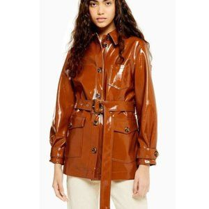 Topshop Chicaco Brown Belted Vinyl Trench Coat